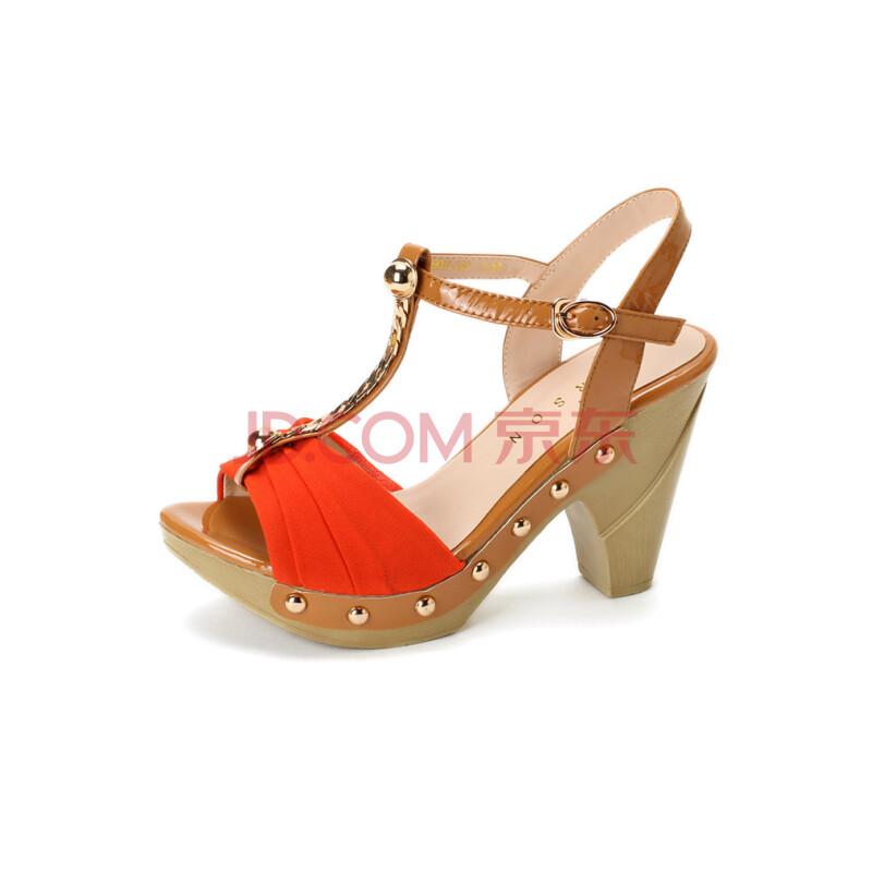 哈森/harson2013夏季新款头层牛皮拼色女凉鞋高跟女鞋图片