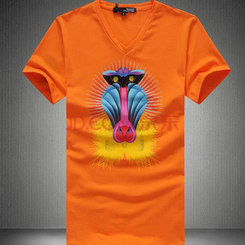 意达方 2014新款烫钻牛头图案v领夏季t恤男士短袖修身韩版 黄色 xxl