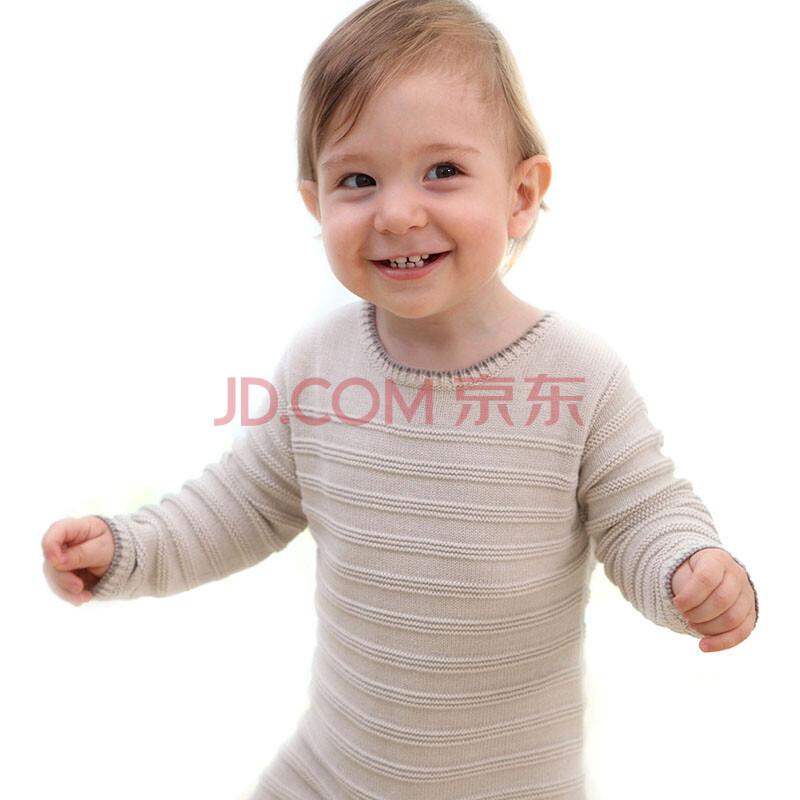 2014春装 婴儿针织纯棉连身衣 宝宝连体衣tz5105-0102 米色 0-6个月