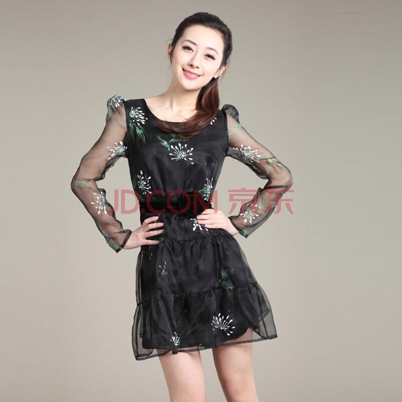 夏季新品 嘉茱莉x215002欧根纱手绘长袖连衣裙 黑色 m