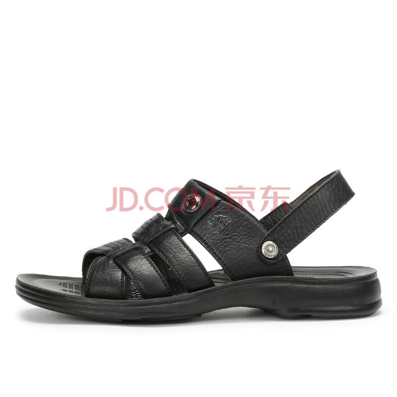 【京品年货】骆驼(CAMEL)夏季新品潮流沙滩鞋真皮凉鞋凉拖潮流男鞋 82203602 黑色 41
