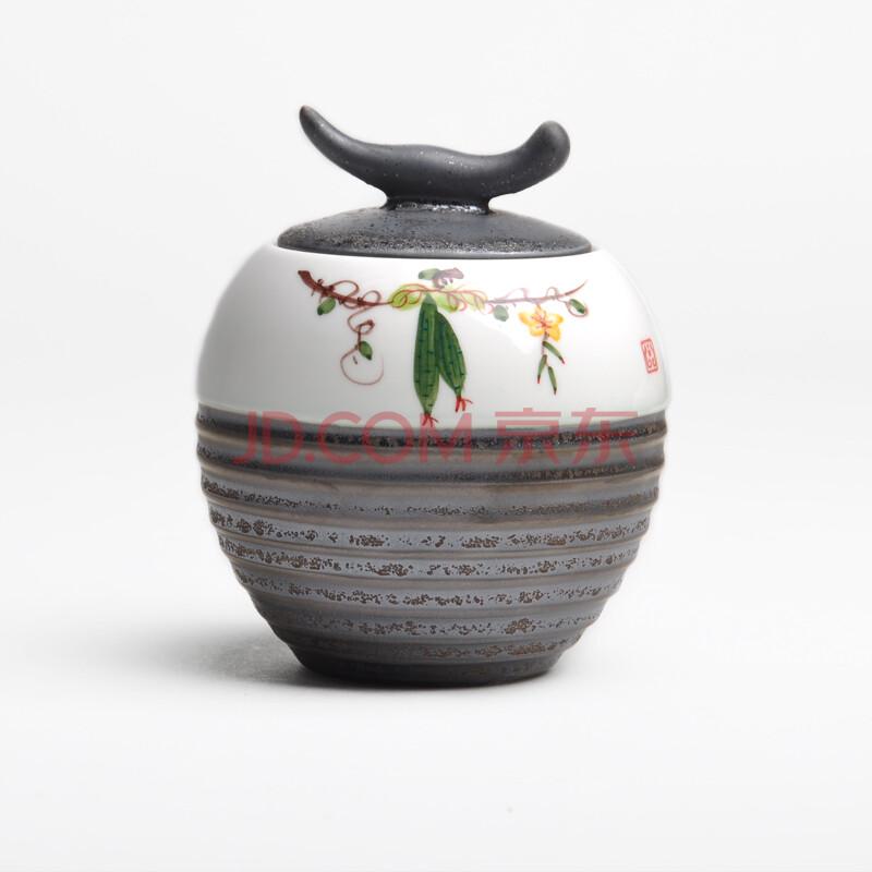 祥福 景德镇五彩手绘陶瓷茶叶罐密封 手工制作铁锈釉茶仓牧童罐cyg184