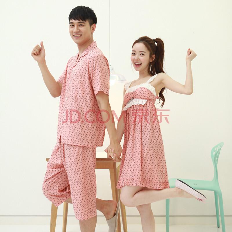 bananagirl韩国情侣睡衣人造棉新款夏季可爱套装时尚吊带女睡裙家居服