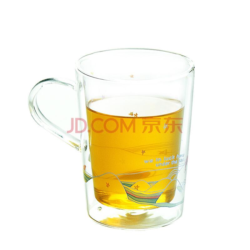 左米 玻璃杯 玻璃水杯 创意杯子 手绘双层玻璃杯 330ml 涂鸦 海豚