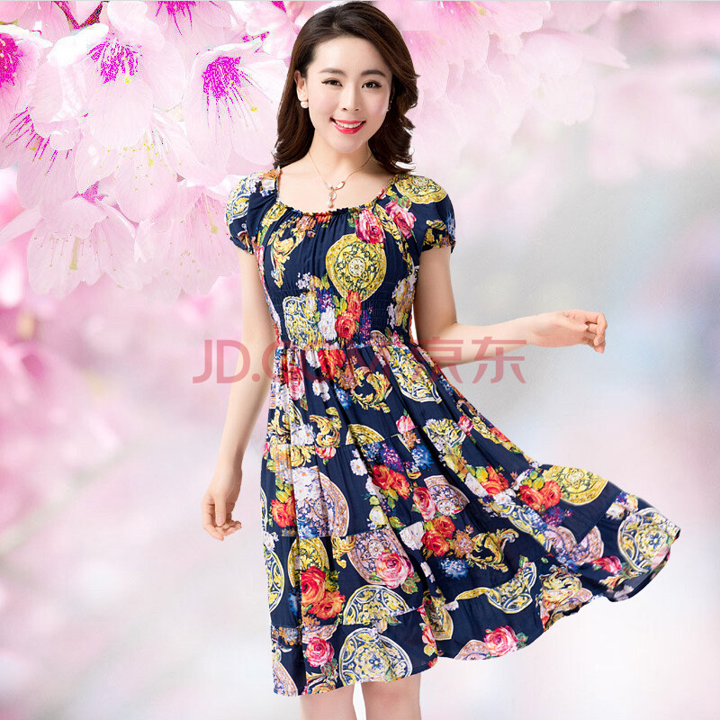 新款短袖连衣裙时尚瑞丽花色圆领短袖连衣裙大花裙子 r799蓝底牡丹花