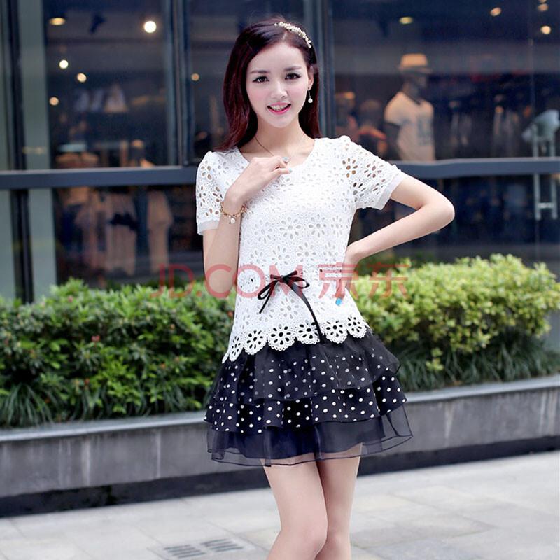 夏季新款韩版蕾丝蛋糕连衣裙镂空小可爱女生必备裙子