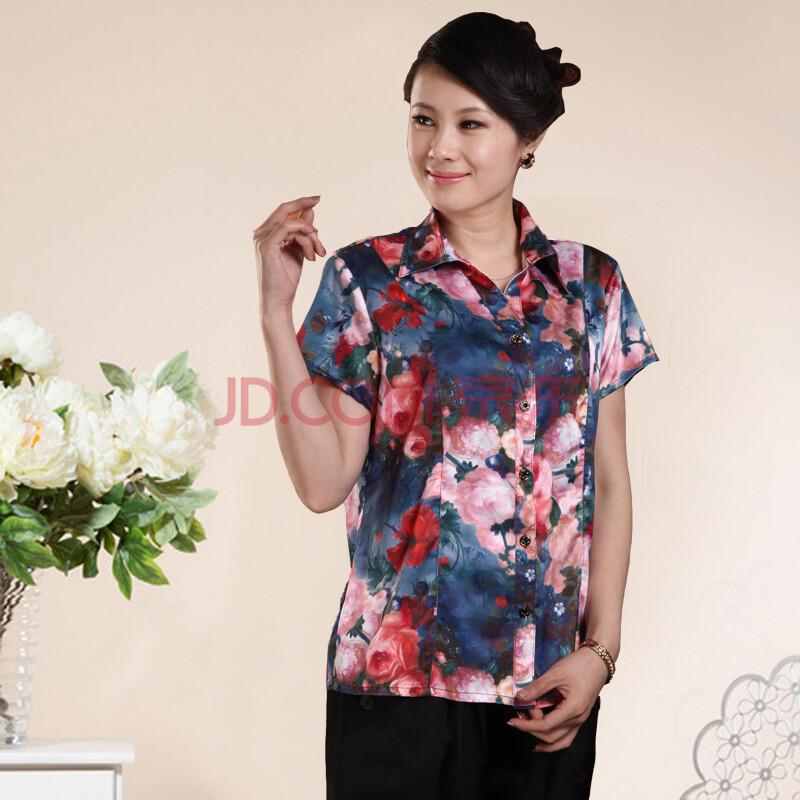新款中老年衬衫女胖妈妈装加肥加大女装中年夏装真丝