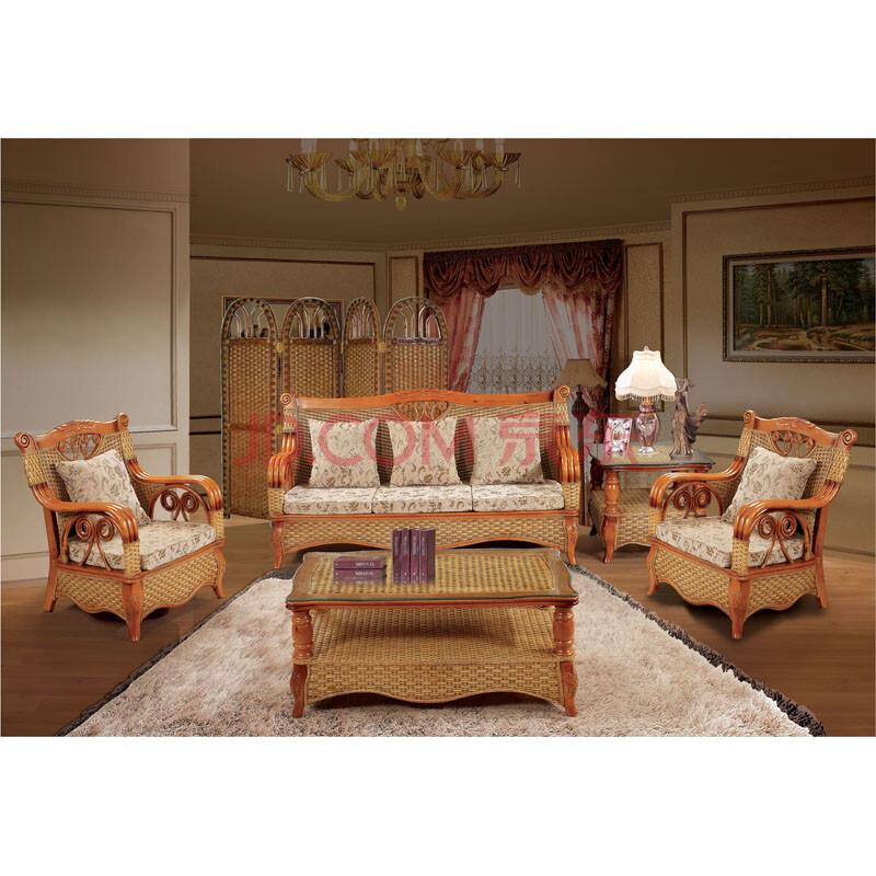 绿欣轩9024 沙发 现代中式风格藤式实木休闲客厅懒人沙发 家居就旗舰