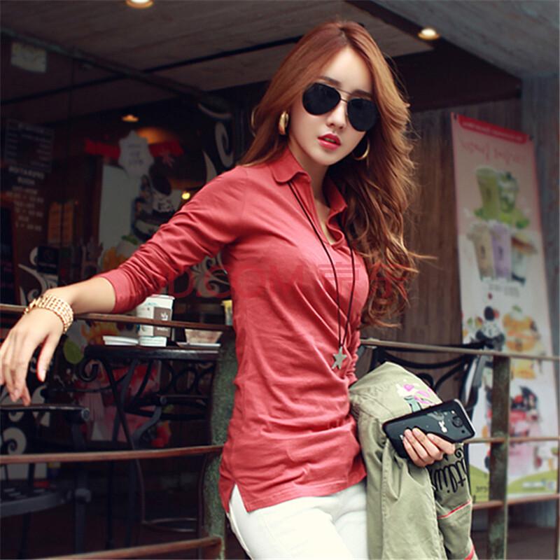 ��.d:-a:+�_2014春装新款打底长袖t恤衫v领翻领上衣女装韩版修身d112-a 686# 酒红