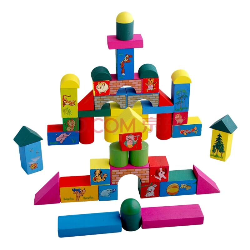 凯烨木制积木玩具 儿童益智玩具桶装
