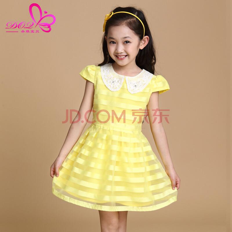 朵琪宝贝童装女夏装儿童短袖连衣裙儿童时尚泡泡袖