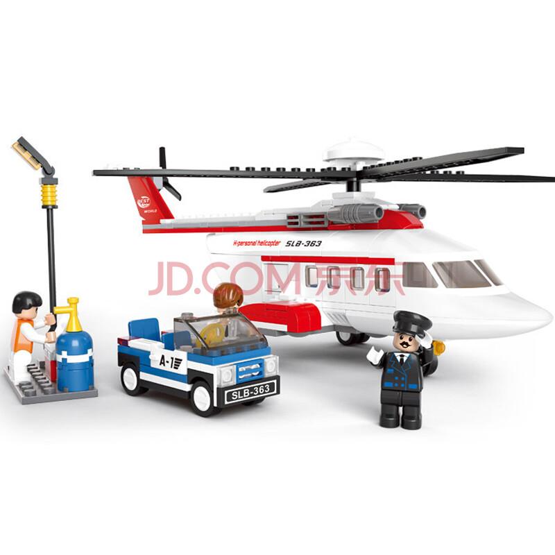 私人直升飞机 乐高式拼插积木
