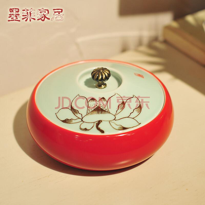 陶瓷手绘莲蓬首饰盒