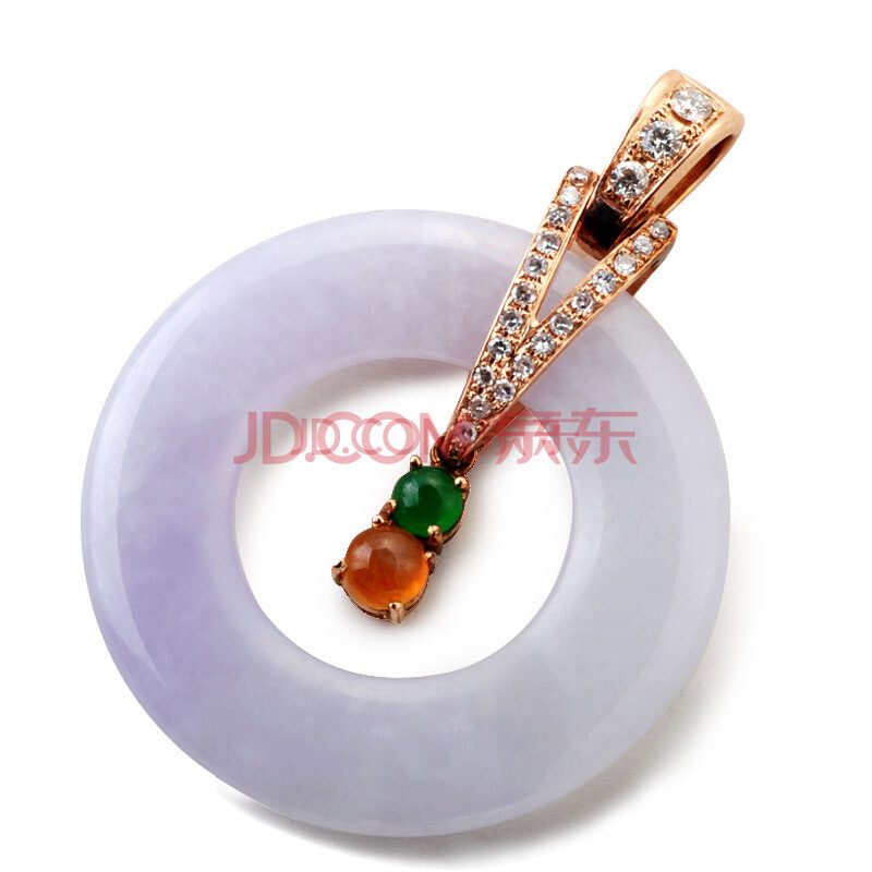 紫罗兰翡翠平安扣吊坠18k金镶嵌钻石挂件项链