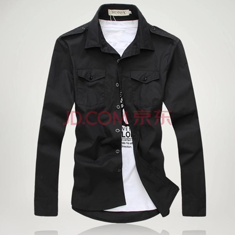 草根神话 男士肩章设计长袖衬衫1903d-8818 黑色 l