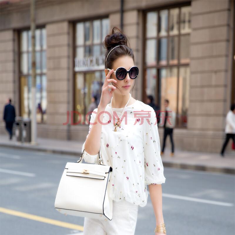 HETYY2014欧洲站白色打底衫春秋修身短款圆领中袖女装t恤宽松上衣显瘦薄潮