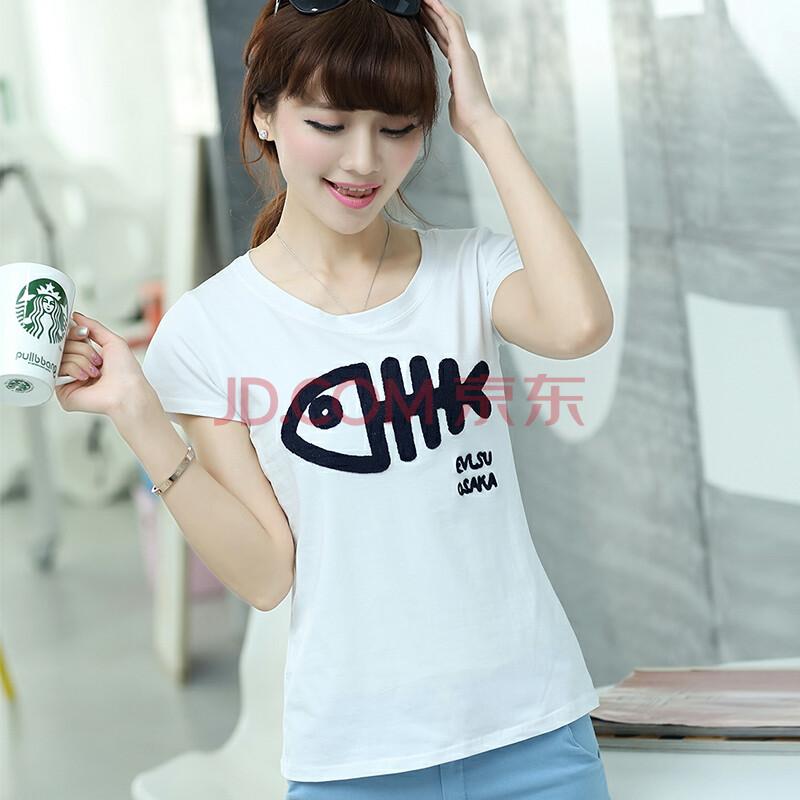 【货到付款】2014夏装新款韩版短袖小鱼图案文艺个性时尚t恤 女 315