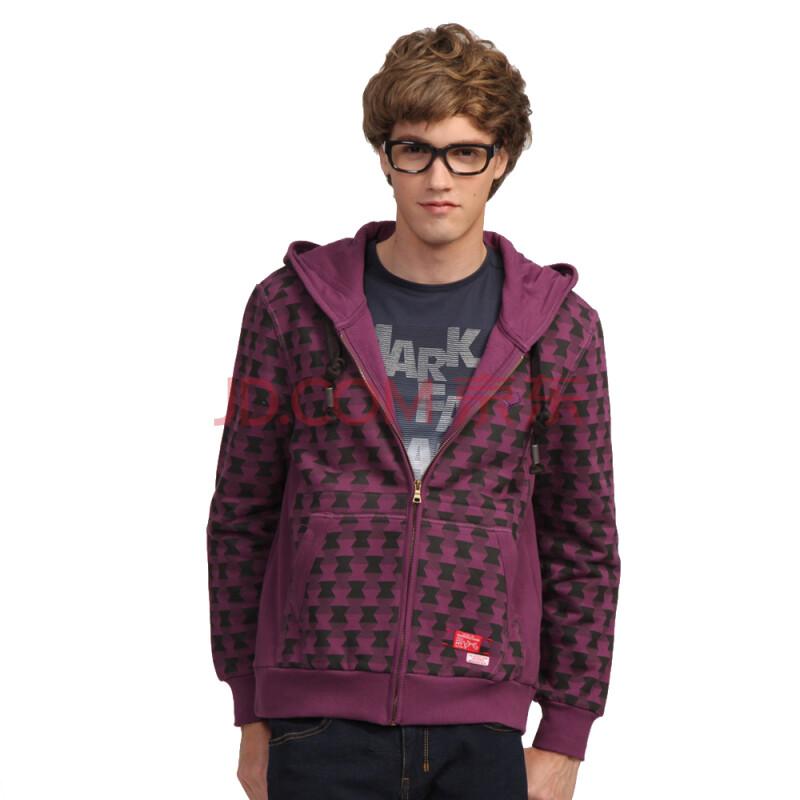 马克华菲mark fairwhale 修身连帽百搭时尚卫衣 7103026321 紫色 m