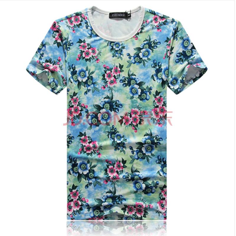 男装2014夏季男装花式短袖加大码肥码t恤衫 男士圆领碎花半袖小衫图片