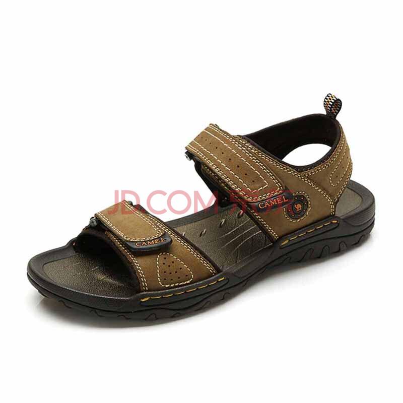 【春款男鞋】骆驼(CAMEL)真皮凉鞋男士头层牛皮休闲沙滩鞋魔术贴82211609 棕色 43