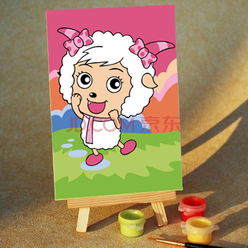 diy数字油画手绘儿童卡通迷你画彩绘 10x15精装送画架 美丽美羊羊
