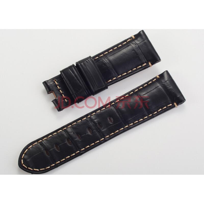 24mm纯手工牛制作 美洲鳄鱼皮系列 鳄鱼皮表带 黑色 适用panerai 沛纳