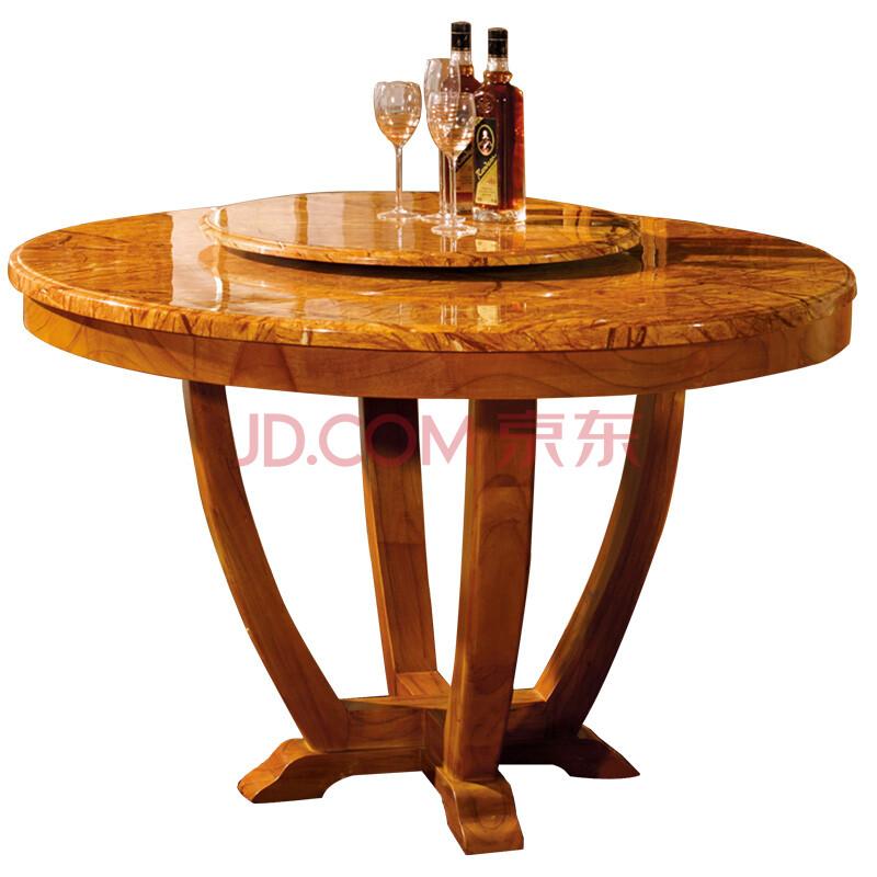 中式家具简约实木圆餐桌带旋转转盘