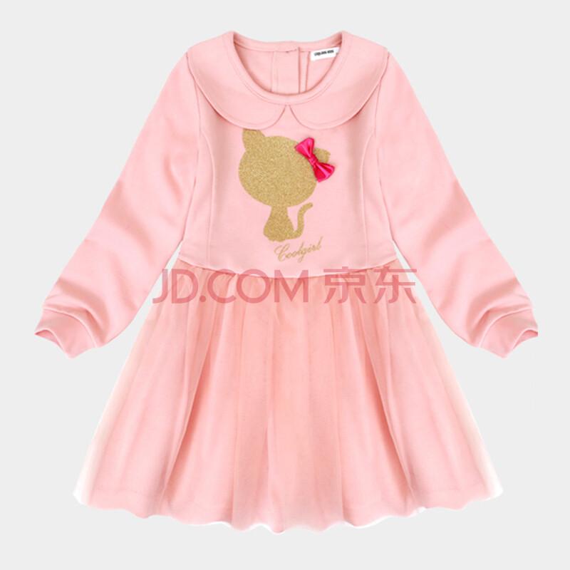 cooldog韩国品牌童装春季新款女童宝宝衣服韩版可爱淑女连衣裙 浅粉色