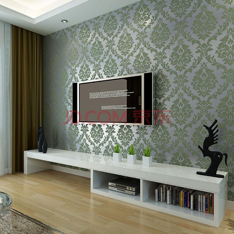 纸尚美学 欧式简约大马士革墙纸n550037鹿皮绒电视背景客厅壁纸 银色