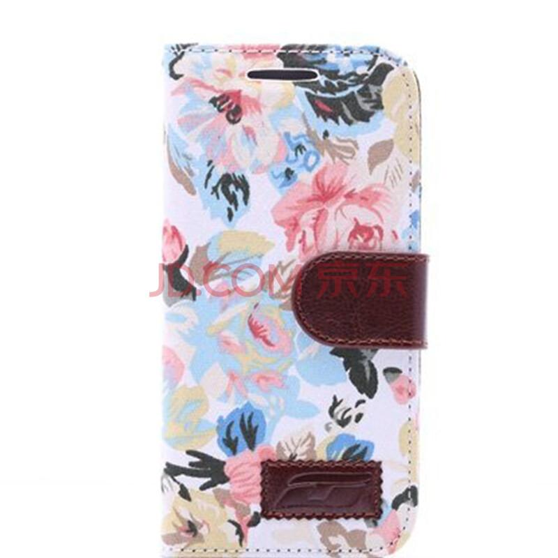 wellgler 布艺牛仔布料手机保护套 适用于htc m8手机壳 白底花纹 htc