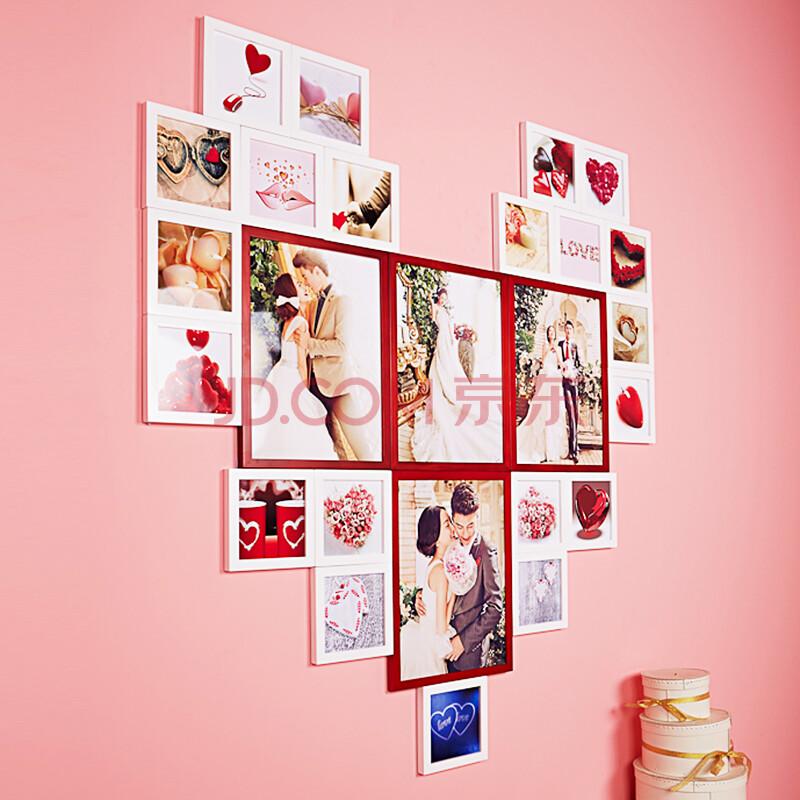 森淼 适合生活照婚纱照的实木照片墙 相框墙 创意相框图片