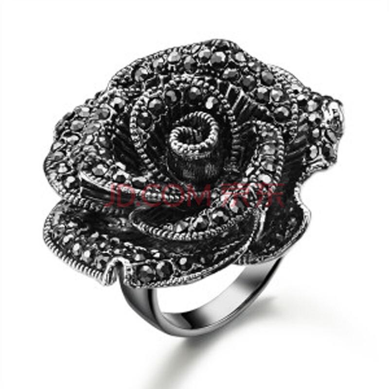 黛若饰品指间映色欧美夸张戒指黑玫瑰指环镶锆钻石女