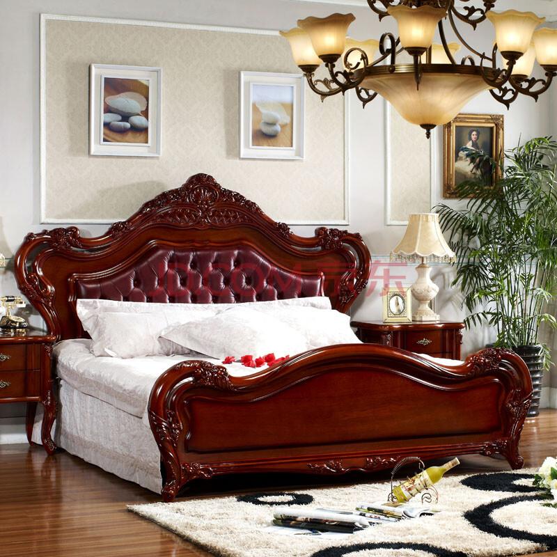 欧式1米8床胡桃木色深色真皮床