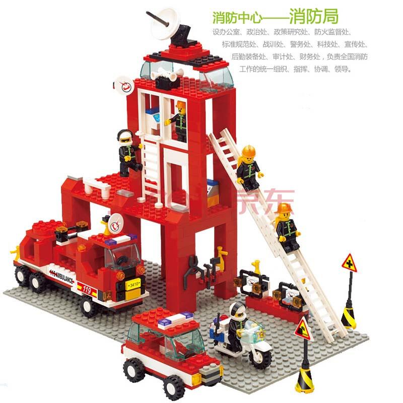 小鲁班积木消防部队大楼消防飞机/云梯车