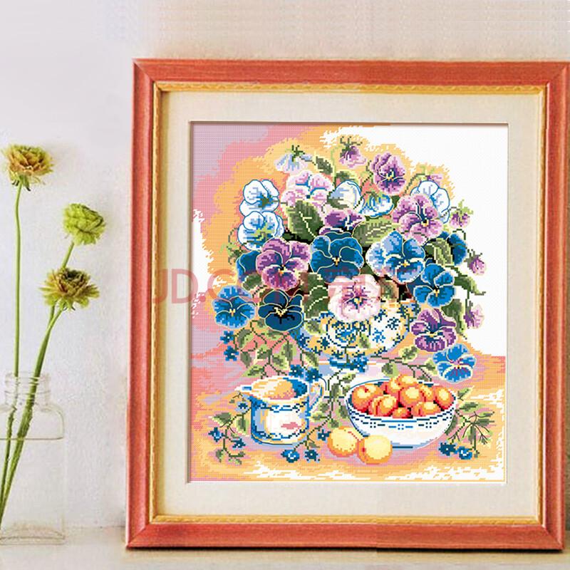 法国进口dmc十字绣套包 蓝色蝴蝶花客厅卧室新款印花 11ct-3股-白布