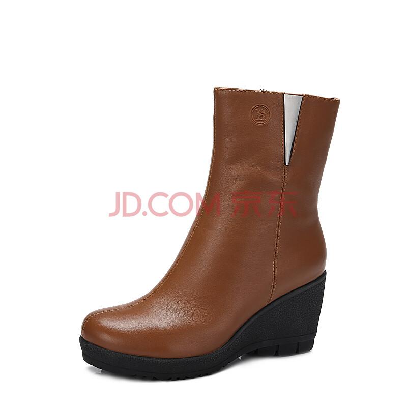 骆驼牌女鞋 头层牛皮真皮女靴