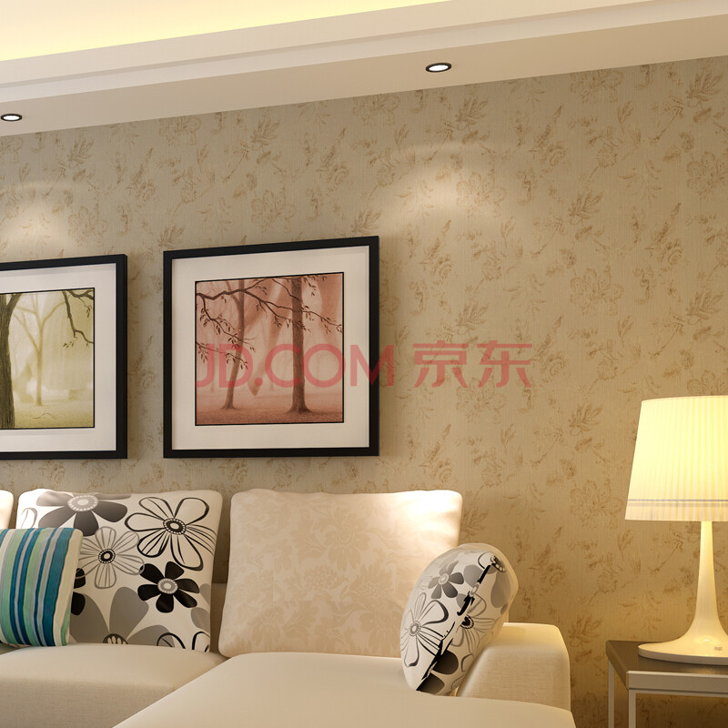 欧式品牌无纺布客厅墙纸壁纸卧室电视背景墙温馨现代