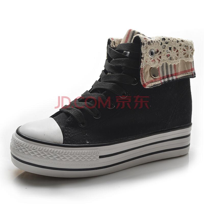 帮帆布鞋女 韩版系带拼色女生休闲鞋女鞋子6098
