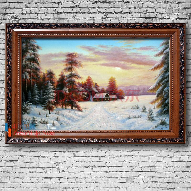纯手绘油画 欧式乡村田园风景油画