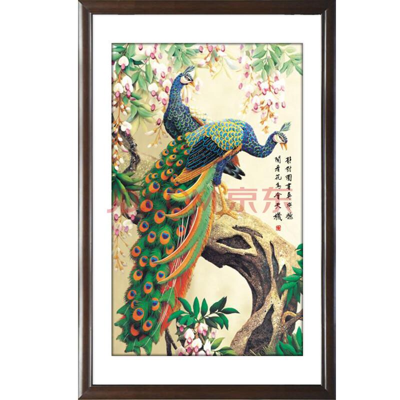 有框装饰画简约客厅中国画墙壁画挂画动物中式国画孔雀仙鹤闲庭信步 c