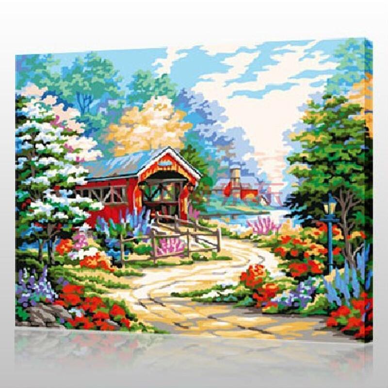 diy手绘数字油画 乡间小道 40*50cm带内框 花卉风景客厅餐厅人物礼品