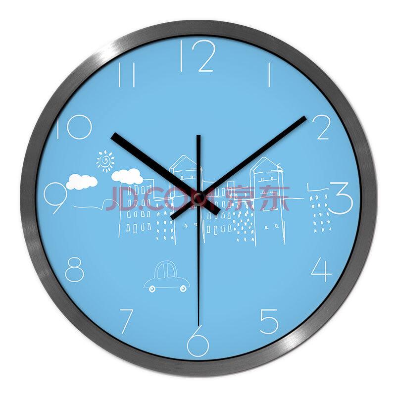 摩门(momen)客厅静音创意艺术挂钟挂表石英钟表时钟卡通可爱城市9e40