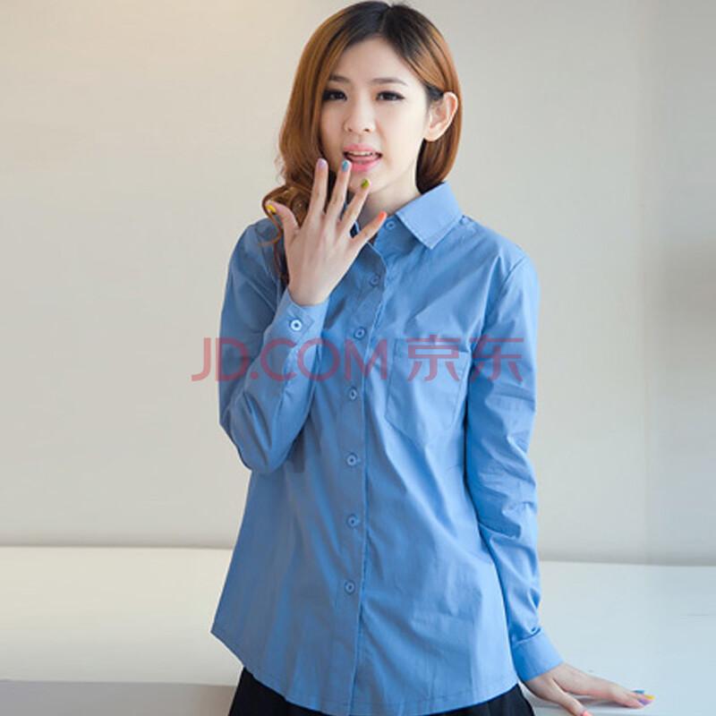 蓝色衬衫搭配图片女