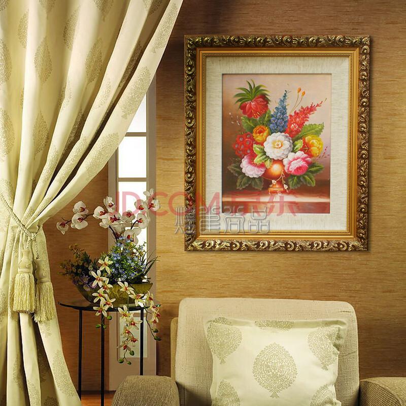 客厅装饰画 手绘壁画餐厅挂画 家居酒店装饰有框 古典花油画-竖构图