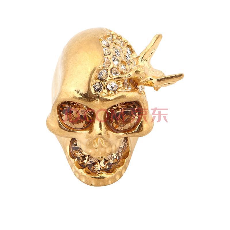 alexander mcqueen亚历山大·麦昆金色金属材质骷髅头