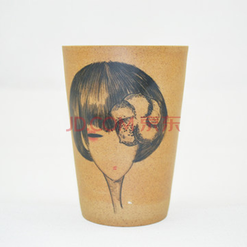 全心全艺景德镇纯手工手绘插画陶泥水杯马克杯直筒水杯 可爱小萌妹