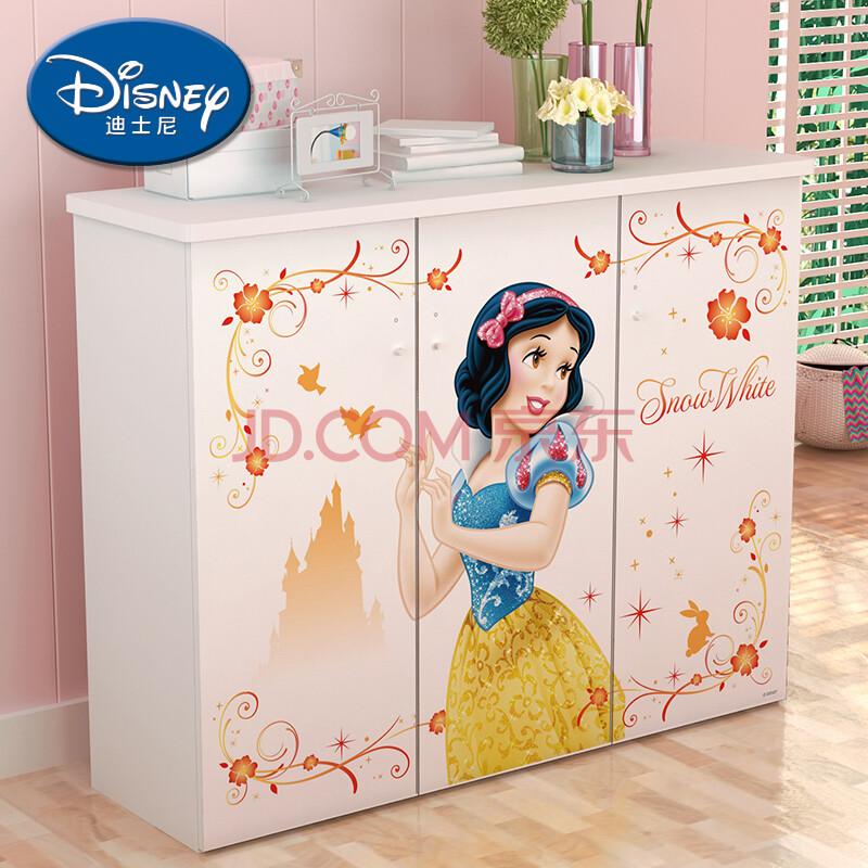 酷漫居儿童家具 迪士尼七公主系列储物收纳三门鞋柜