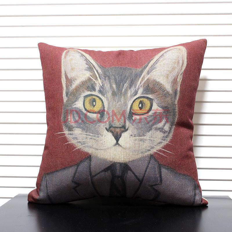 一橙布艺 卡通喵星人棉麻抱枕 创意手绘沙发靠垫汽车腰枕办公室靠枕套