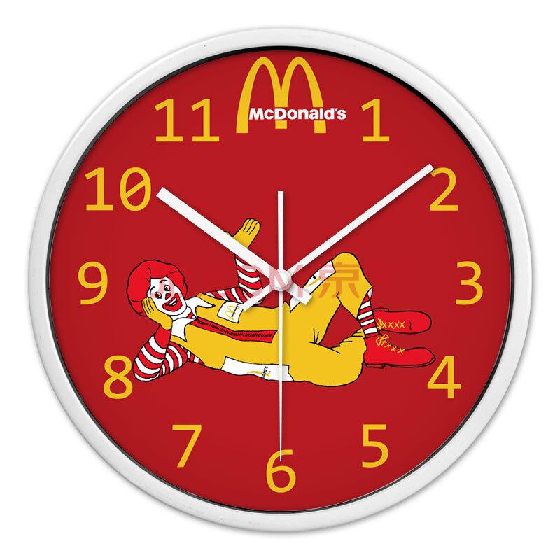 时光机 客厅创意挂钟麦当劳叔叔小丑m薯条可乐汉堡黄色红色超静音挂
