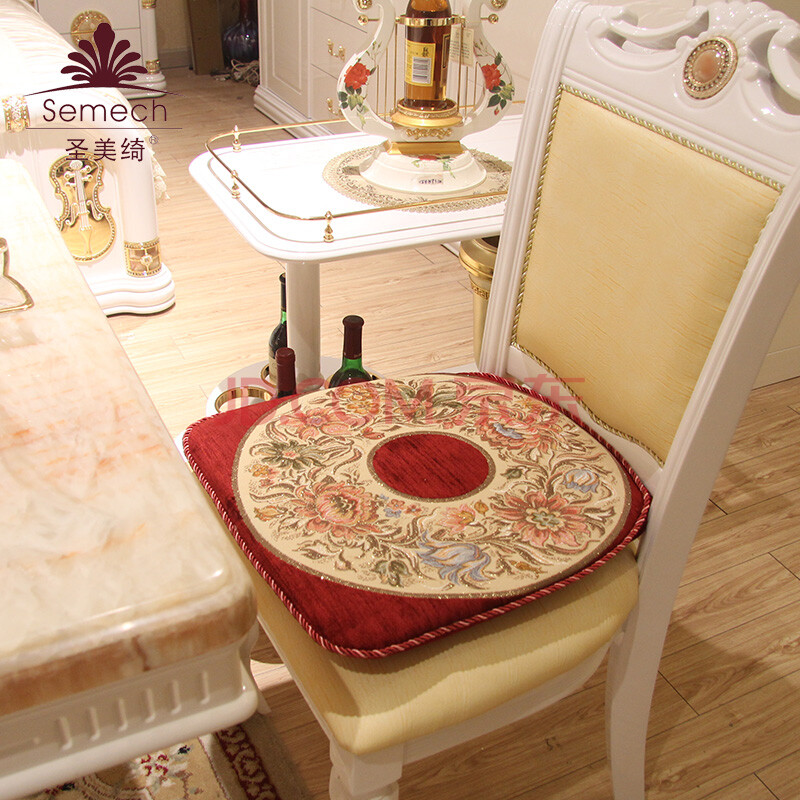 圣美绮 欧式椅垫坐垫餐椅垫 红木凳子垫 雪尼尔高档提花 08k红色宫廷图片